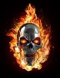 Metal skull, flames Royalty Free Stock Image