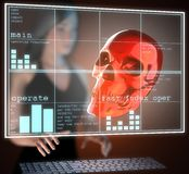 Metal skull on  futuristic hologram Stock Image