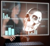 Metal skull on  futuristic hologram Stock Images