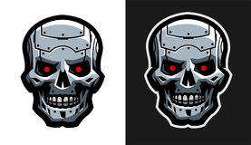 The metal skull of the robot. Two versions. Royalty Free Stock Photos