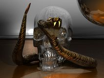 Metal Skull and Snake Stock Photos