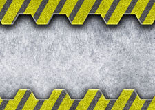 Metal sliding door with the warning of danger coloring, 3d  Royalty Free Stock Photos