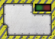 Metal sliding door with the warning tape, 3d, illustration Stock Photos
