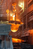 Metal smelting casting. In the metallurgical plant royalty free stock photo