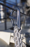 Metal snap lock in use at sea Royalty Free Stock Images