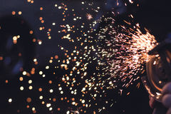 Metal Spark in Time Lapse Photography Royalty Free Stock Images