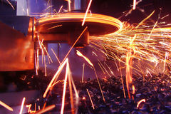 Metal sparks. Bright sparks during metal processing Stock Photography