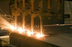 Metal sparks cutting Stock Photography