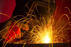 Metal sparks while welding Royalty Free Stock Photo