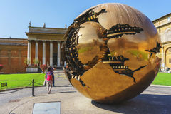 Metal sphere of the courtyard of the Vatican Museum. Stock Image