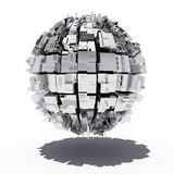 Metal sphere with geometric shapes Stock Photos