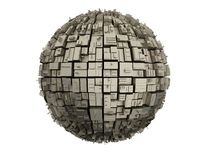 Metal sphere on the surface of the boxes Stock Image