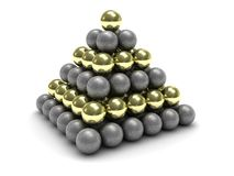 Metal spheres. Abstract 3d illustration of pyramid builded from metal spheres Stock Photo