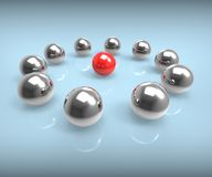 Metal Spheres Show Leadership Or Seminar Stock Photography