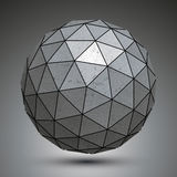 Metal spherical 3d object  on white background Royalty Free Stock Photos