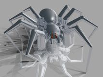Metal Spider. Near-photorealistic ray-traced spider with a metal finish Stock Photo