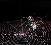 Metal spider and spiderweb Royalty Free Stock Image