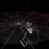 Metal spider and spiderweb Stock Image