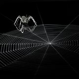 Metal spider and spiderweb Royalty Free Stock Photos
