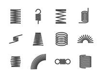 Metal spiral flexible wire elastic spring icons i Stock Photography