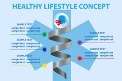 The five steps for healthy living presentation. Metal spiral a six-pointed blue cross showing the five steps for healthy living stock illustration