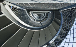 Metal spiral staircase to the tower in Friedrichshafen, GERMANY. Royalty Free Stock Photography