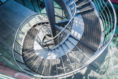 Metal spiral staircase Stock Photos