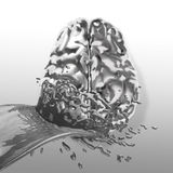 Metal splash on brain as concept Stock Photography