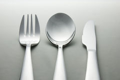 Metal spoon, fork and knife. royalty free stock photo