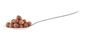 Metal spoon full of hazelnuts isolated. Side view metal spoon full of hazelnuts isolated over white background Stock Image