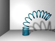 Metal spring. A blue metal spring in a room with shadow vector illustration