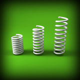 Metal spring background. Image 3d of white metal spring background Stock Photos