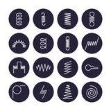 Metal spring flat line icons. Variety of flexible coil, elastic steel wire types. Thin signs in circle background. Flexibility property. Editable Strokes Royalty Free Stock Photo