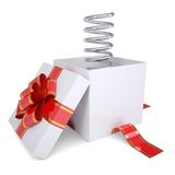 Metal spring from an open gift Stock Photo