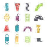Metal spring set. Colorful round metal wire, elasticity and mechanical energy. Vector flat style cartoon illustration isolated on white background stock illustration