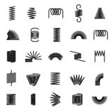 Metal springs. Twisted spiral, flexible coil wire suspension black spring vector line icons royalty free illustration