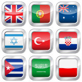 Metal square national flags Stock Photography