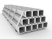 Metal square pipes Stock Image