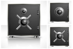 Metal square safe. With combination lock, vector illustration Stock Photo