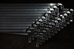 Metal square tube Stock Images