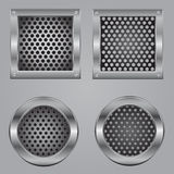 Metal squares and circles Royalty Free Stock Images