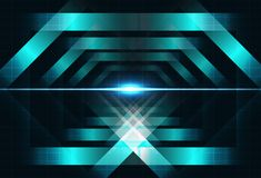 Metal squares shape concept light shiny technology concept geometric futuristic blending neon lines with grid block abstract back royalty free illustration