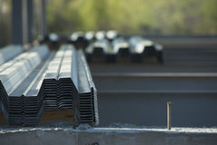 Metal Stacked on Contruction Site Stock Photo