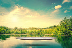 Metal stage hovering over a lake Stock Image