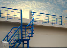 METAL STAIR WITH SKY BACKGROUND Stock Image