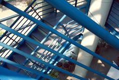 Metal Staircase. In a modern designed building Stock Photo