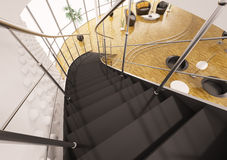 Metal staircase with black steps 3d render Royalty Free Stock Images