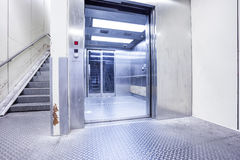 An metal staircase in a tunnel Stock Photos