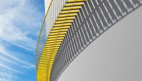Metal stairs with shadow pattern under blue sky. Contemporary architecture background, yellow metal stairs with shadow pattern goes over white wall, 3d Royalty Free Stock Images