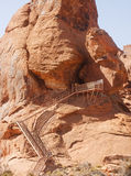 Metal Stairs up Sandstone Butte Royalty Free Stock Images